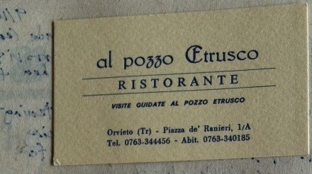 Ristorante al pozzo Etrusco, where we lunched in Orvieto