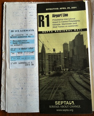 Flight ticket stub and SEPTA map