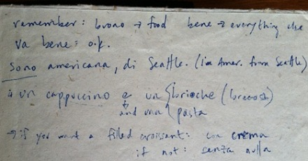 Part 2 of my beginner's guide to Italian in my sister's handwriting