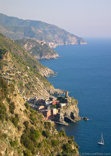 view of Vernazza, Italy from trail in 2003