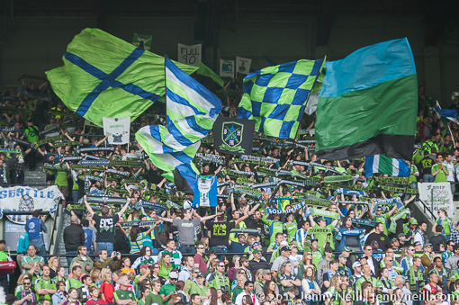 Seattle Sounders fans in rival territory